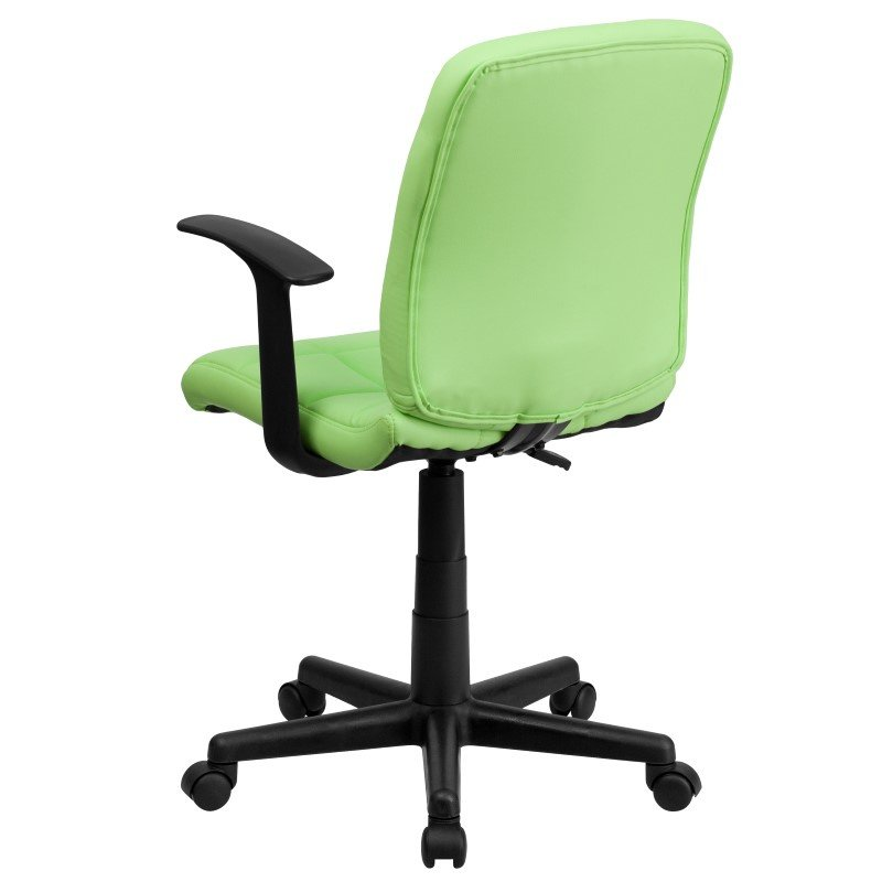 Flash Furniture Mid-Back Green Quilted Vinyl Swivel Task Chair with Nylon Arms