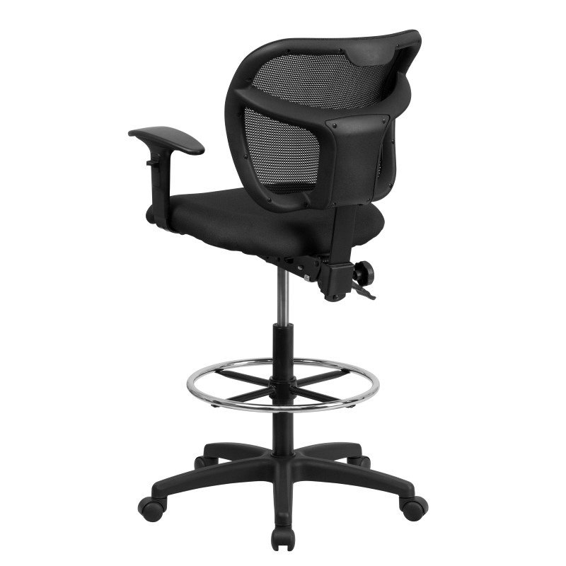 Flash Furniture Mid-Back Mesh Drafting Chair with Black Fabric Seat and Height Adjustable Arms