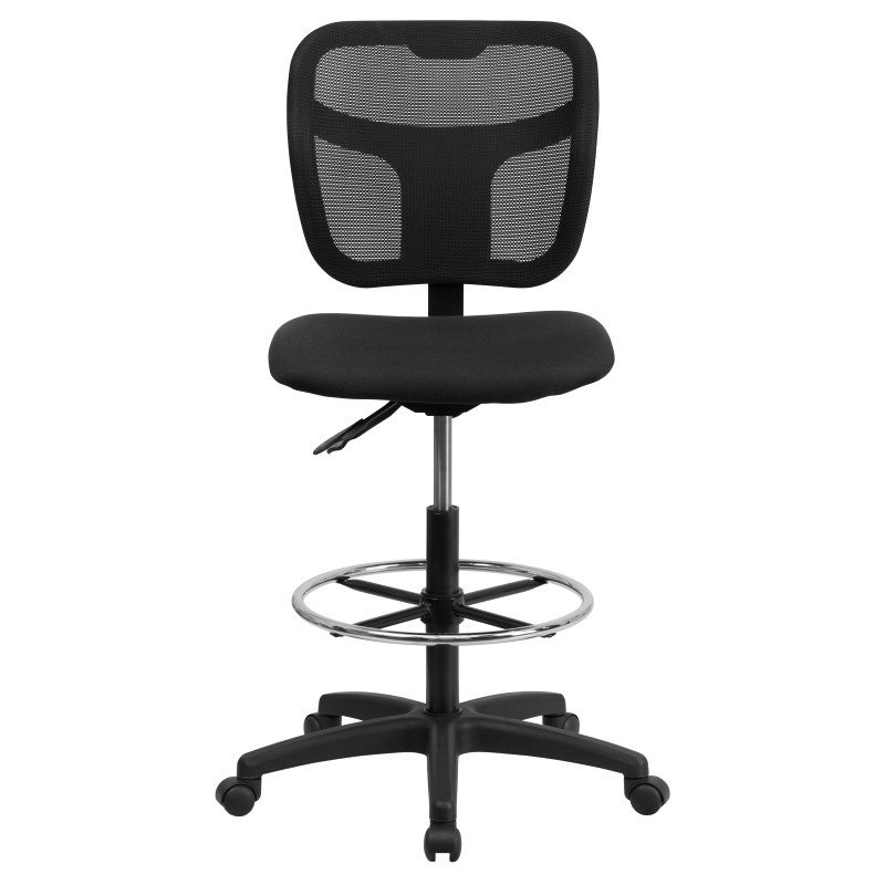 Flash Furniture Mid-Back Mesh Drafting Chair with Black Fabric Seat