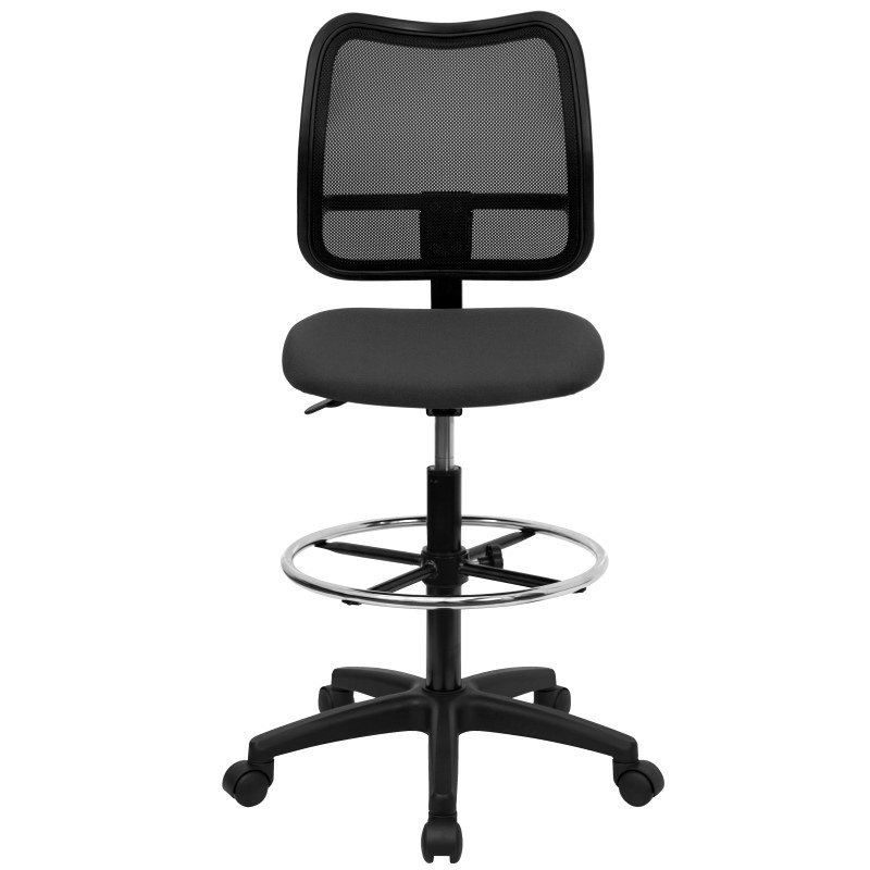 Flash Furniture Mid Back Mesh Drafting Chair with Gray Fabric Seat