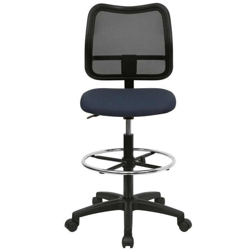 Flash Furniture Mid Back Mesh Drafting Chair with Navy Blue Fabric Seat