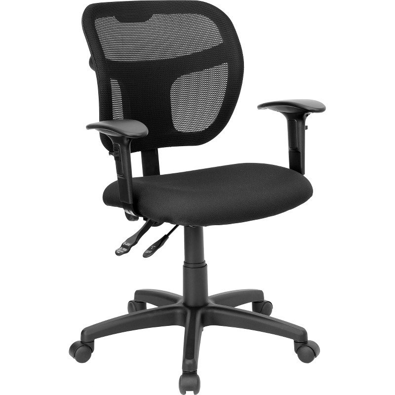 Flash Furniture Mid-Back Mesh Swivel Task Chair with Black Fabric Padded Seat and Height Adjustable Arms