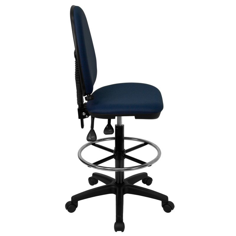 Flash Furniture Mid-Back Navy Blue Fabric Multi-Functional Drafting Chair with Adjustable Lumbar Support