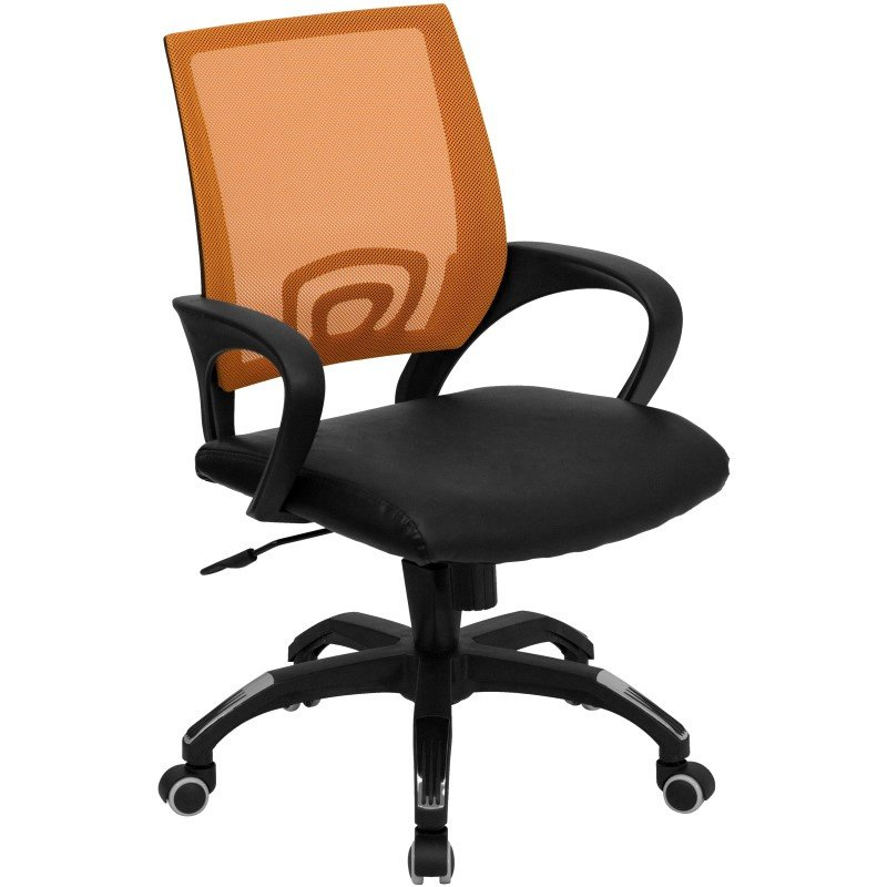 Flash Furniture Mid-Back Orange Mesh Swivel Task Chair with Black Leather Padded Seat