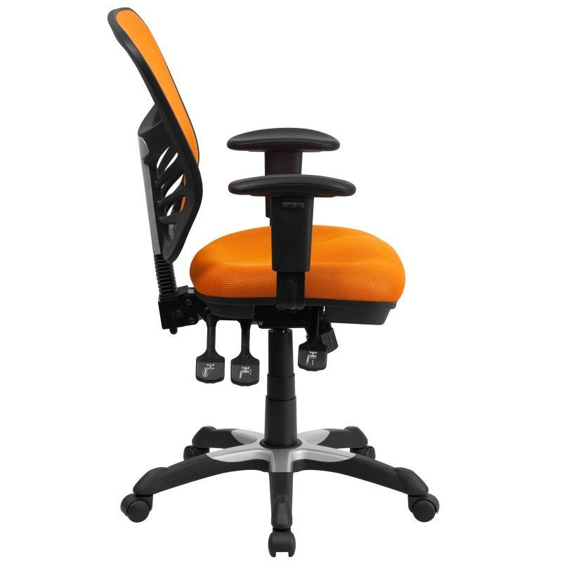 Flash Furniture Mid-Back Orange Mesh Swivel Task Chair with Triple Paddle Control