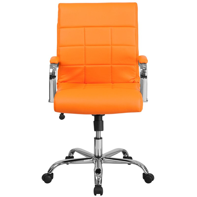 Flash Furniture Mid-Back Orange Vinyl Executive Swivel Office Chair with Chrome Arms (GO-2240-ORG-GG)