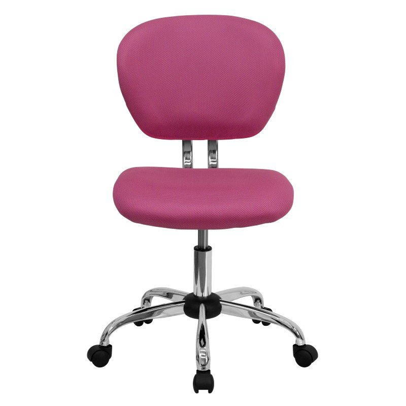 Flash Furniture Mid-Back Pink Mesh Swivel Task Chair with Chrome Base