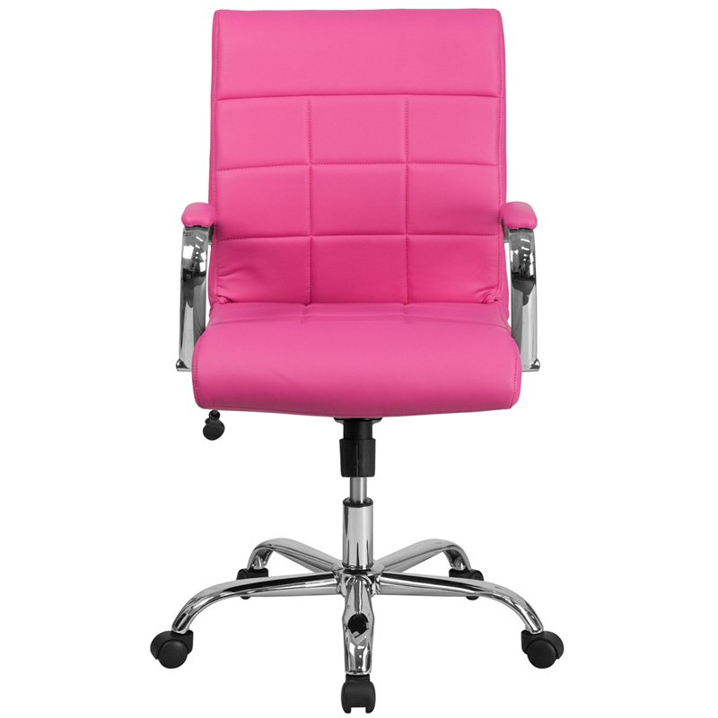 Flash Furniture Mid-Back Pink Vinyl Executive Swivel Office Chair with Chrome Arms (GO-2240-PK-GG)