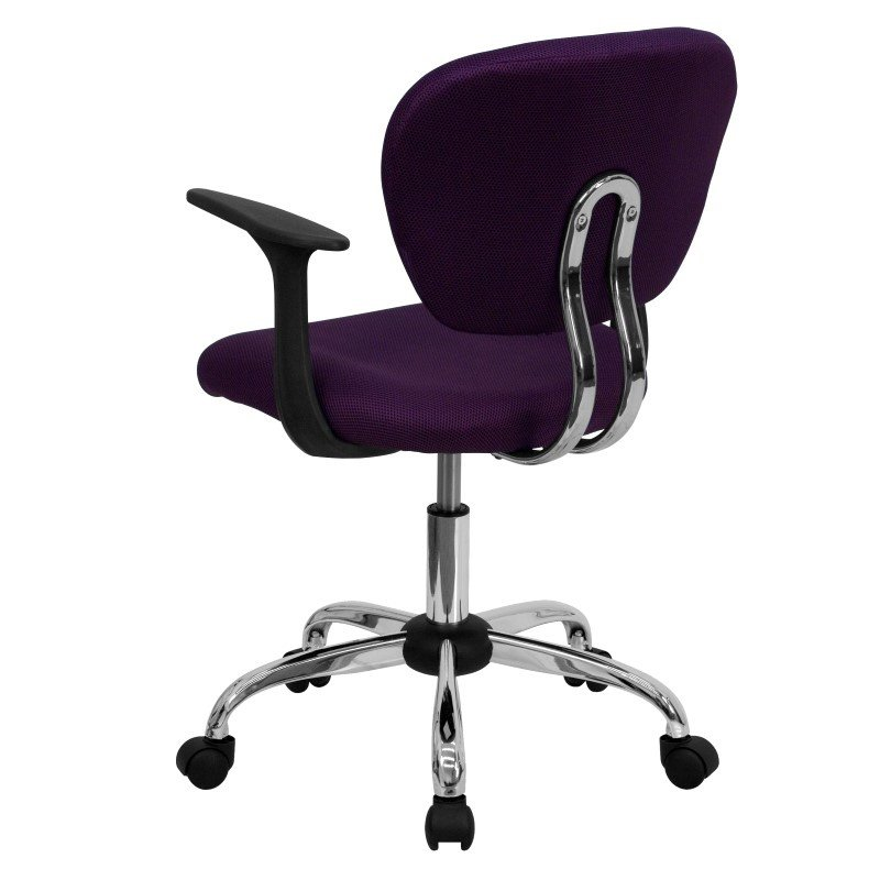 Flash Furniture Mid-Back Purple Mesh Swivel Task Chair with Chrome Base and Arms