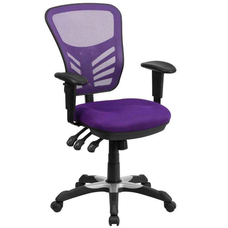 Flash Furniture Mid-Back Purple Mesh Swivel Task Chair with Triple Paddle Control