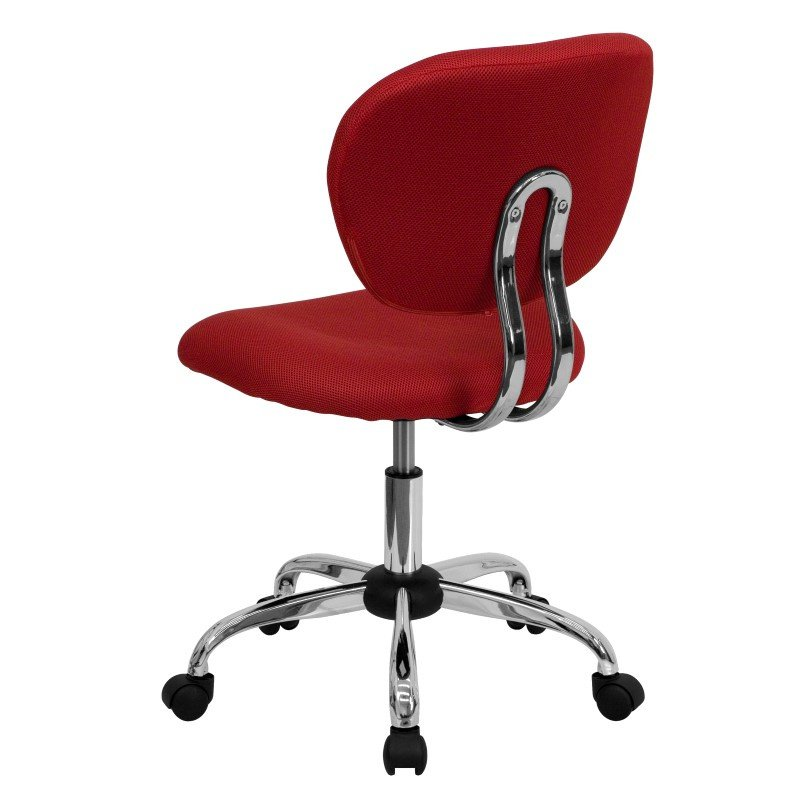 Flash Furniture Mid-Back Red Mesh' Swivel Task Chair with Chrome Base