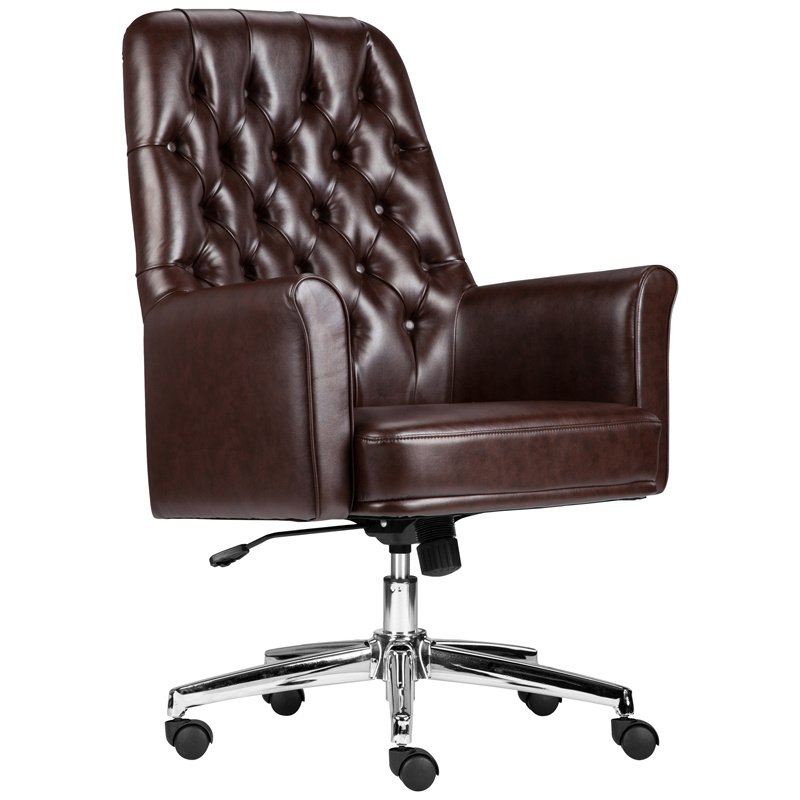 Flash Furniture Mid-Back Traditional Tufted Brown Leather Executive Swivel Chair with Arms (BT-444-MID-BN-GG)