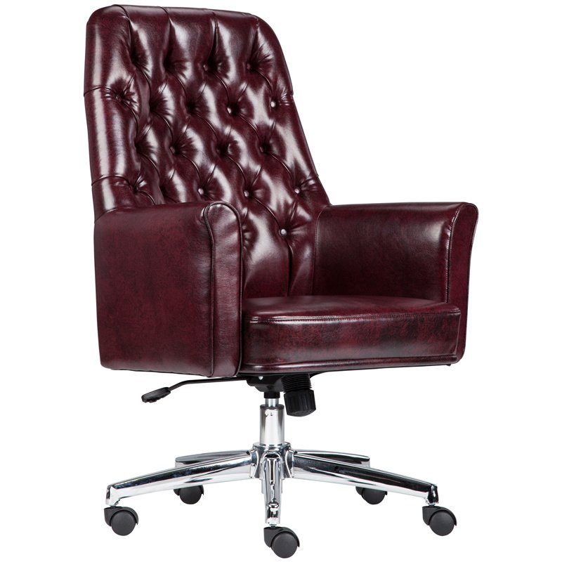 Flash Furniture Mid-Back Traditional Tufted Burgundy Leather Executive Swivel Chair with Arms (BT-444-MID-BY-GG)
