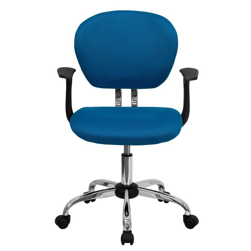 Flash Furniture Mid-Back Turquoise Mesh Swivel Task Chair with Chrome Base and Arms
