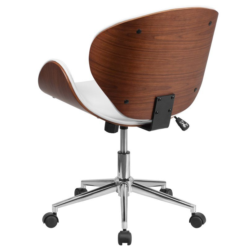 Flash Furniture Mid-Back Walnut Wood Swivel Conference Chair in White Leather