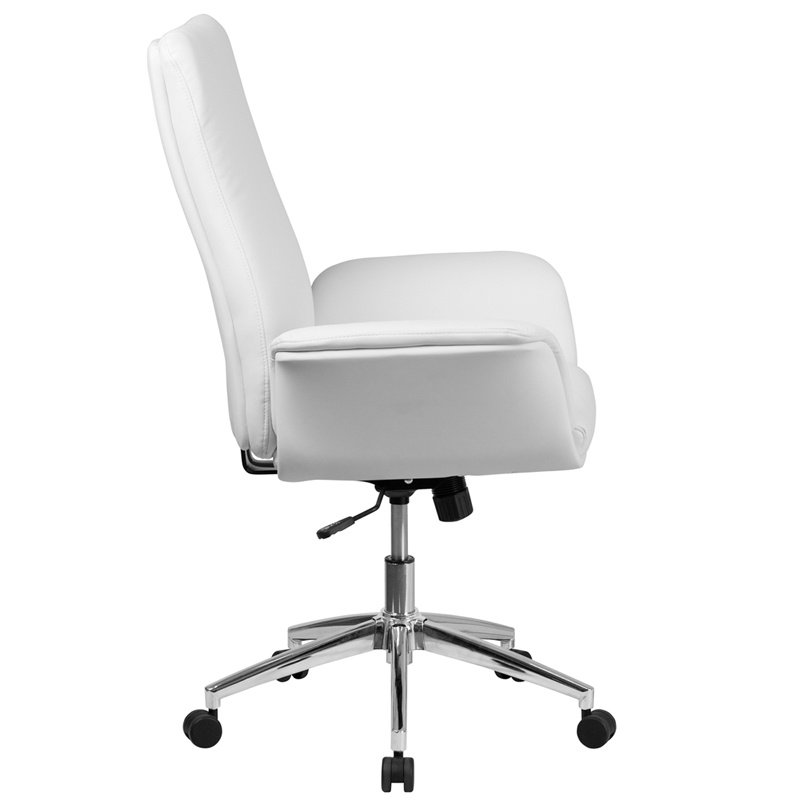 Flash Furniture Mid-Back White Leather Executive Swivel Chair with Flared Arms (BT-88-MID-WH-GG)