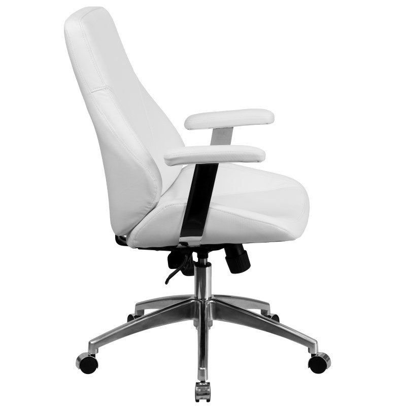Flash Furniture Mid-Back White-Leather Executive Swivel Office Chair