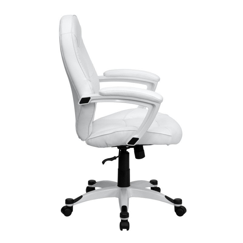 Flash Furniture Mid-Back White Leather Executive Swivel Office Chair