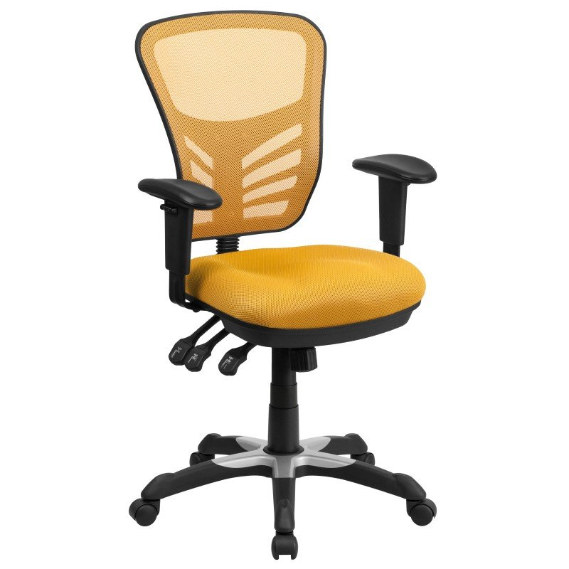 Flash Furniture Mid-Back Yellow-Orange Mesh Swivel Task Chair with Triple Paddle Control