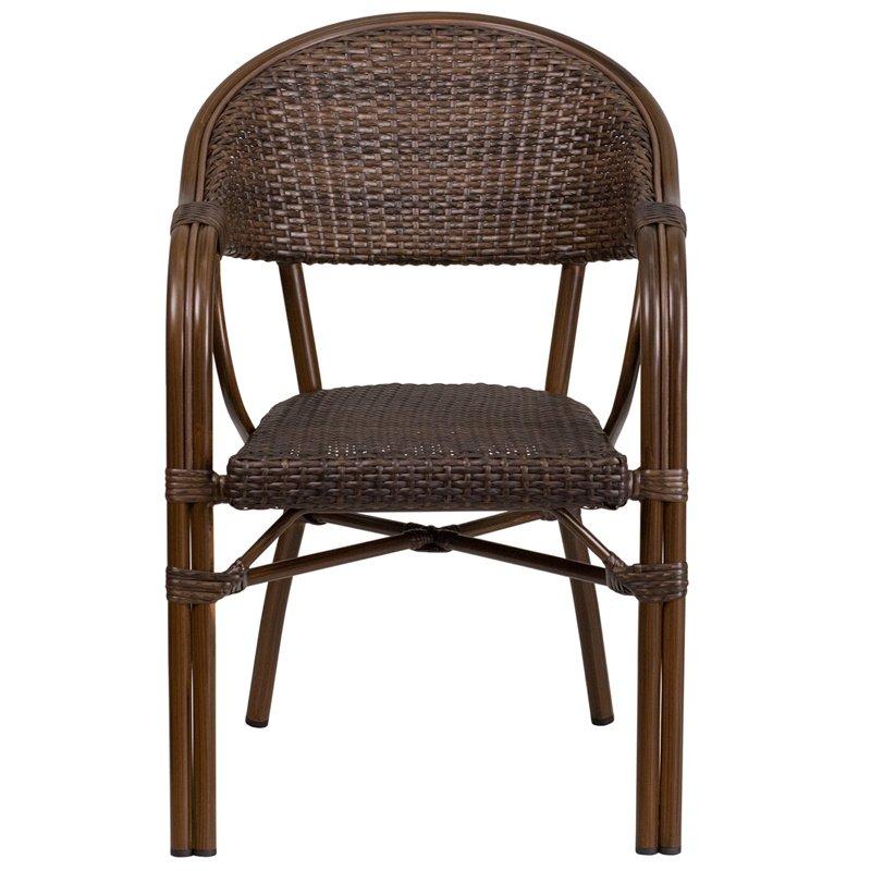 Flash Furniture Milano Series Cocoa Rattan Restaurant Patio Chair with Bamboo-Aluminum Frame (SDA-AD642003R-1-GG)