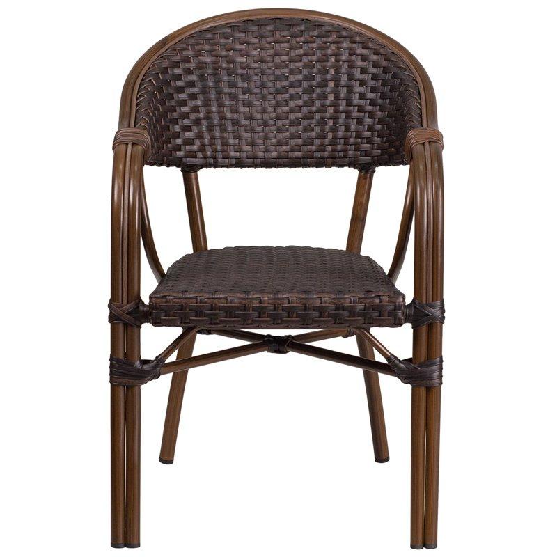 Flash Furniture Milano Series Dark Brown Rattan Restaurant Patio Chair with Red Bamboo-Aluminum Frame (SDA-AD642003R-2-GG)