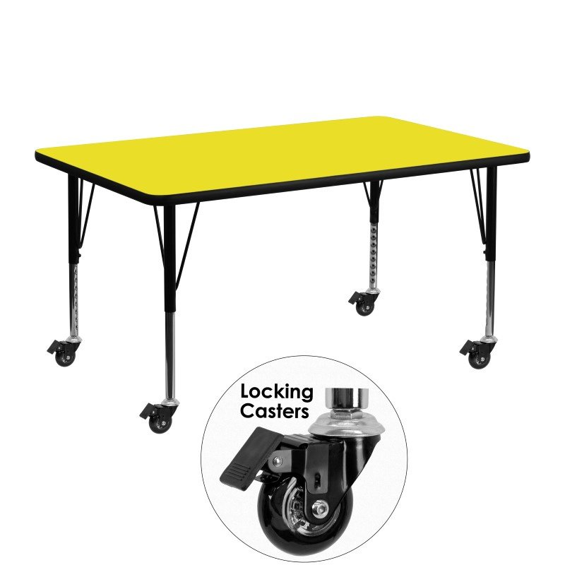 """Flash Furniture Mobile 24""""W x 48""""L Rectangular Activity Table with 1.25"""" Thick High Pressure Yellow Laminate Top and Height Adjustable Preschool Legs"""