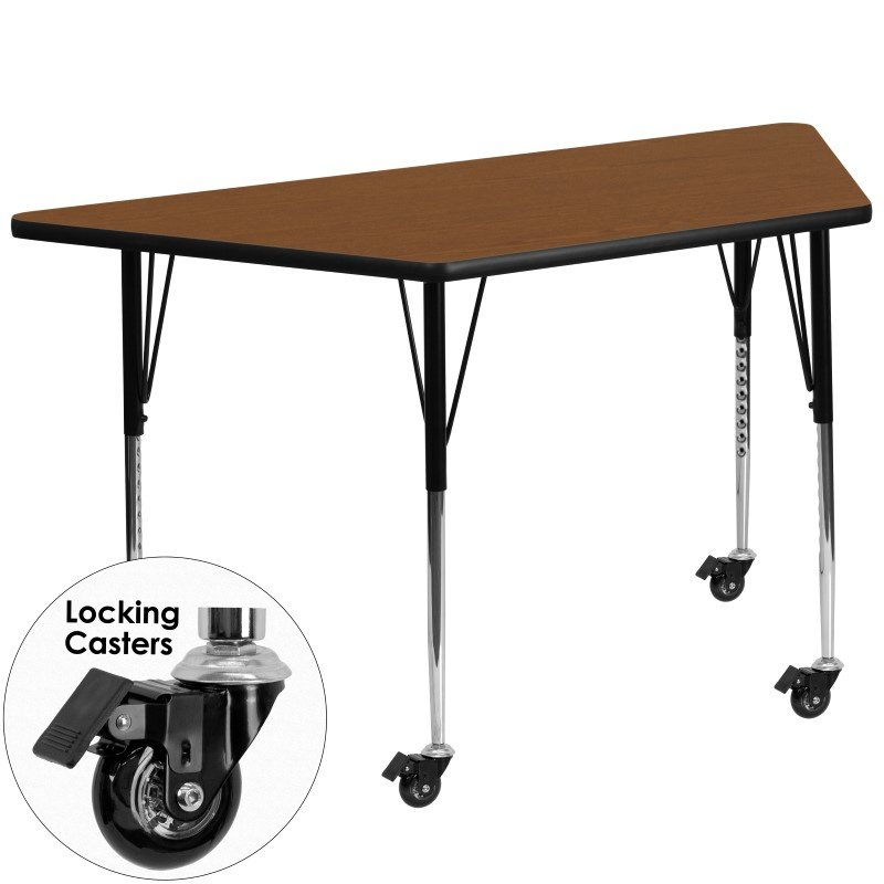 Flash Furniture Mobile 24''W x 48''L Trapezoid Activity Table with 1.25'' Thick High Pressure Oak Laminate Top and Standard Height Adjustable Legs