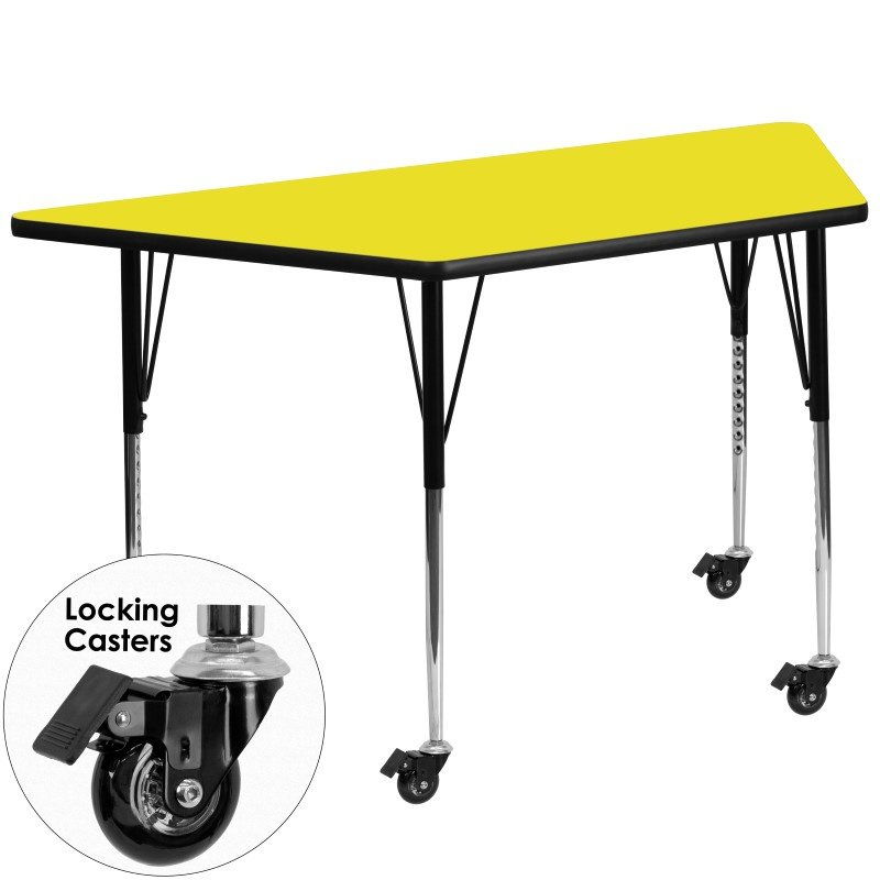 Flash Furniture Mobile 24''W x 48''L Trapezoid Activity Table with 1.25'' Thick High Pressure Yellow Laminate Top and Standard Height Adjustable Legs