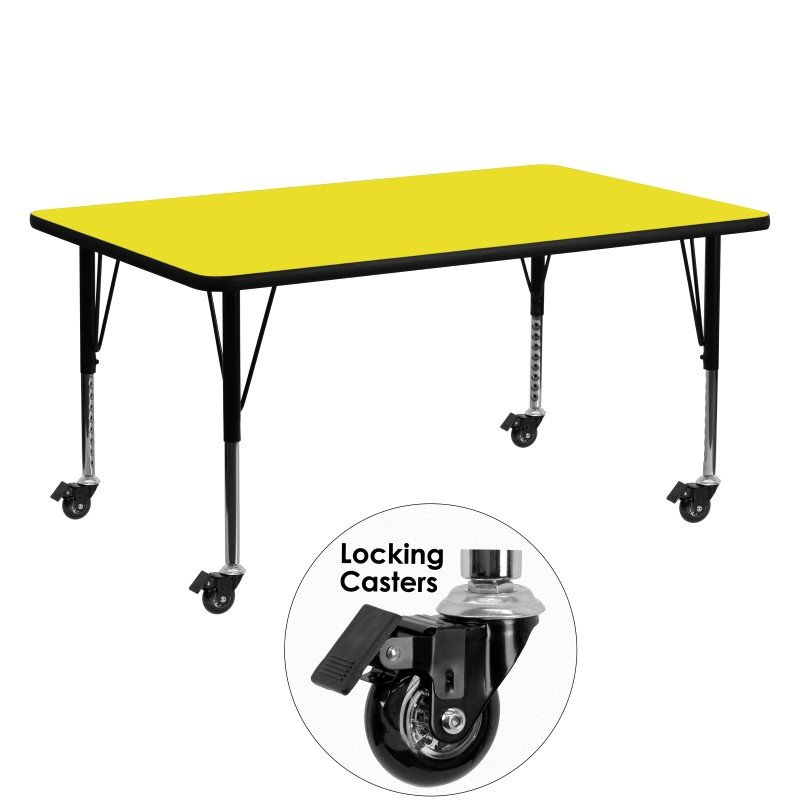 """Flash Furniture Mobile 24""""W x 60""""L Rectangular Activity Table with 1.25"""" Thick High Pressure Yellow Laminate Top and Height Adjustable Preschool Legs"""