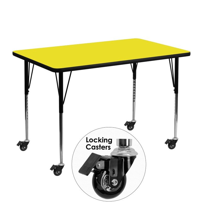 "Flash Furniture Mobile 30""W x 48""L Rectangular Activity Table with 1.25"" Thick High Pressure Yellow Laminate Top and Standard Height Adjustable Legs"