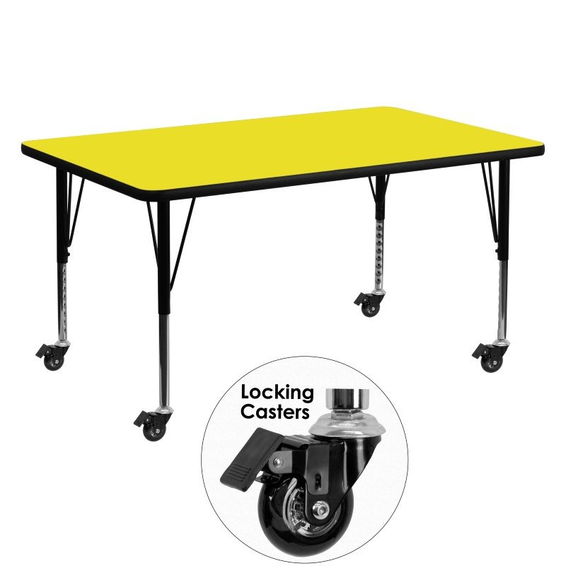 """Flash Furniture Mobile 30""""W x 60""""L Rectangular Activity Table with 1.25"""" Thick High Pressure Yellow Laminate Top and Height Adjustable Preschool Legs"""