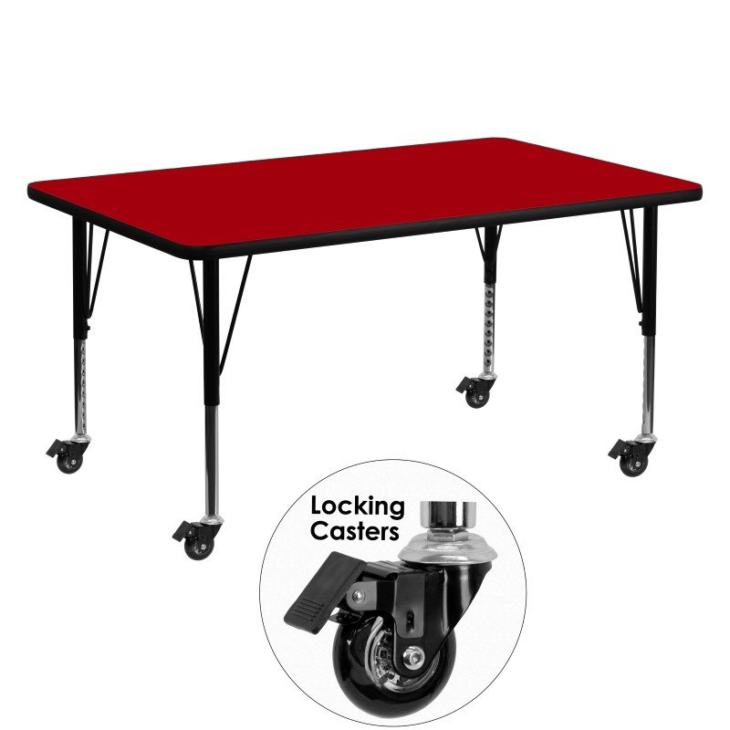 Flash Furniture Mobile 30''W x 60''L Rectangular Activity Table with Red Thermal Fused Laminate Top and Height Adjustable Preschool Legs