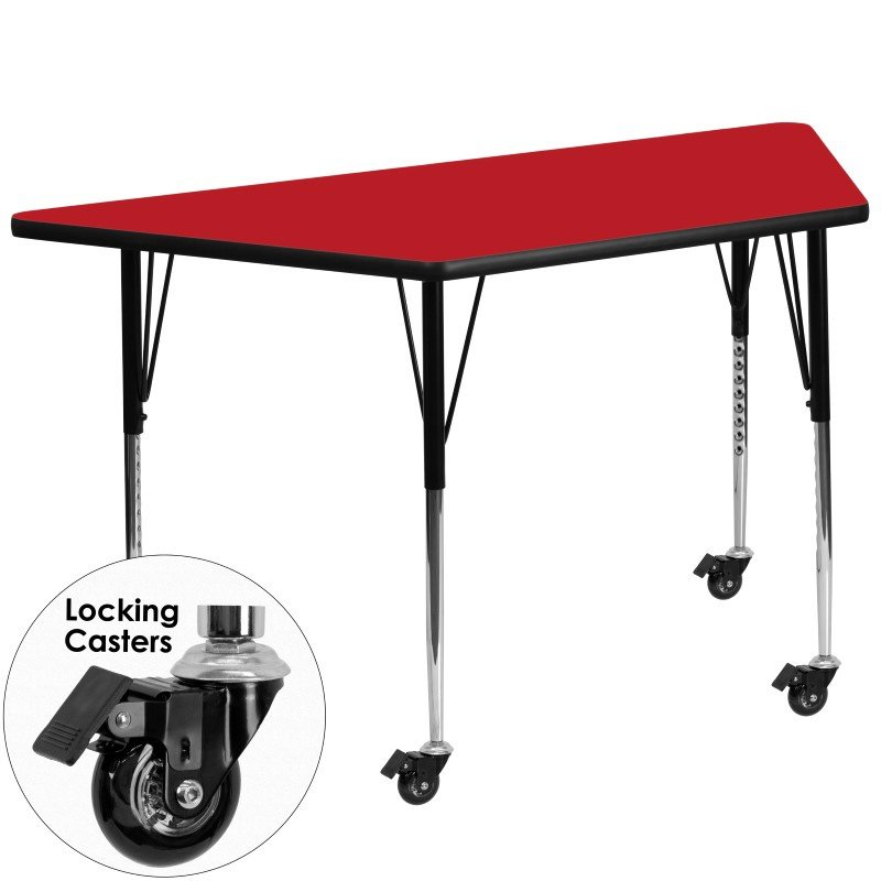 Flash Furniture Mobile 30''W x 60''L Trapezoid Activity Table with 1.25'' Thick High Pressure Red Laminate Top and Standard Height Adjustable Legs