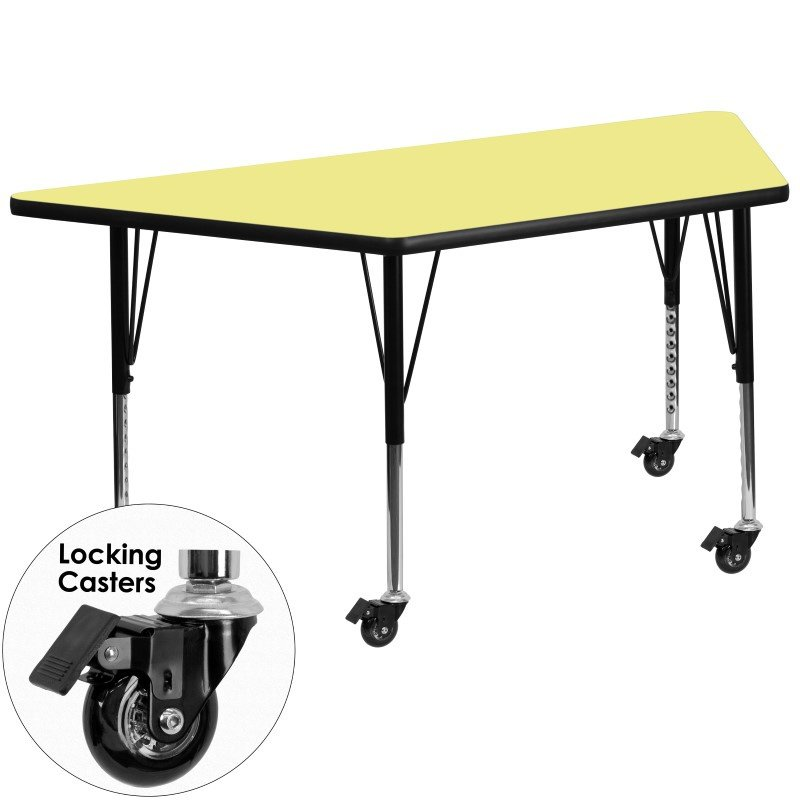 Flash Furniture Mobile 30''W x 60''L Trapezoid Activity Table with Yellow Thermal Fused Laminate Top and Height Adjustable Preschool Legs