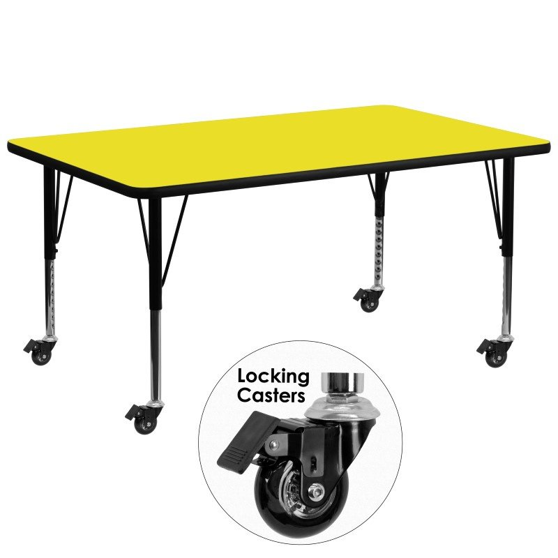 """Flash Furniture Mobile 30""""W x 72""""L Rectangular Activity Table with 1.25"""" Thick High Pressure Yellow Laminate Top and Height Adjustable Preschool Legs"""