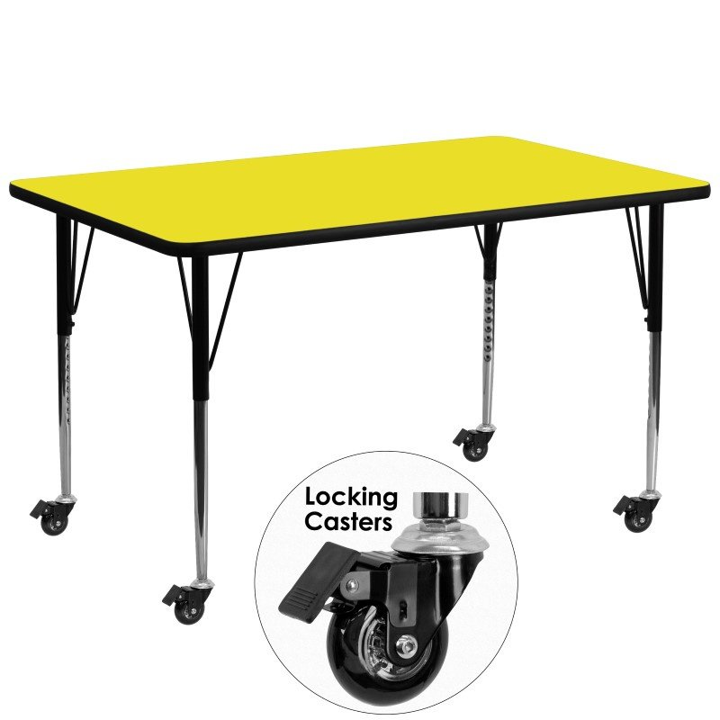 """Flash Furniture Mobile 30""""W x 72""""L Rectangular Activity Table with 1.25"""" Thick High Pressure Yellow Laminate Top and Standard Height Adjustable Legs"""