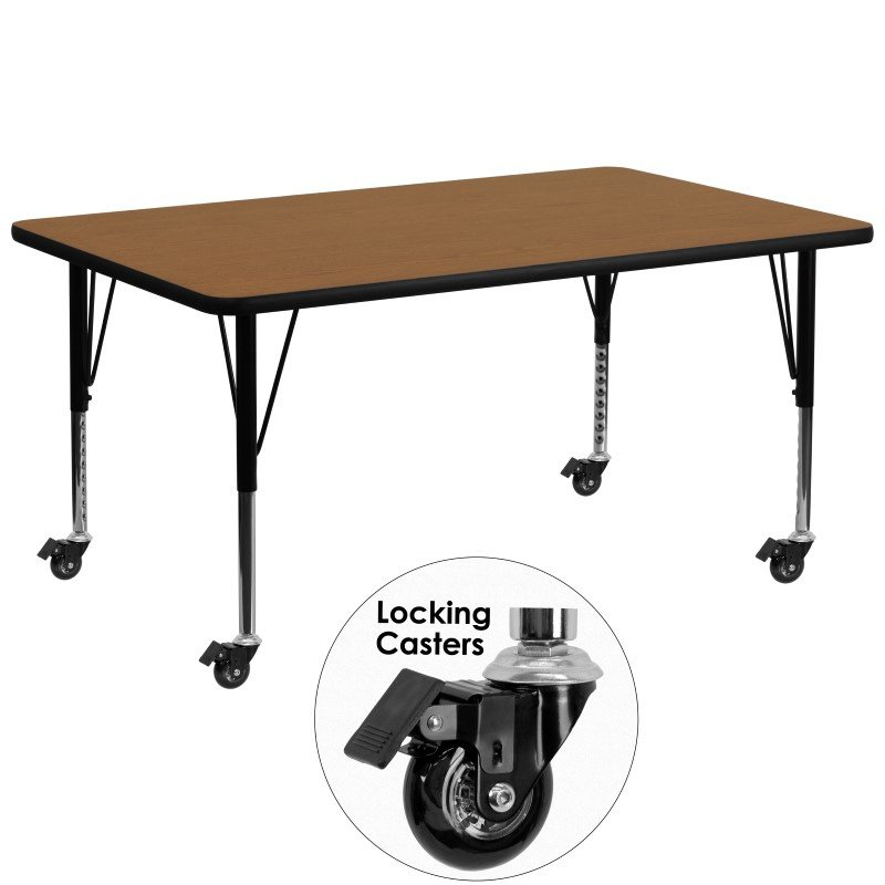 Flash Furniture Mobile 30''W x 72''L Rectangular Activity Table with Oak Thermal Fused Laminate Top and Height Adjustable Preschool Legs