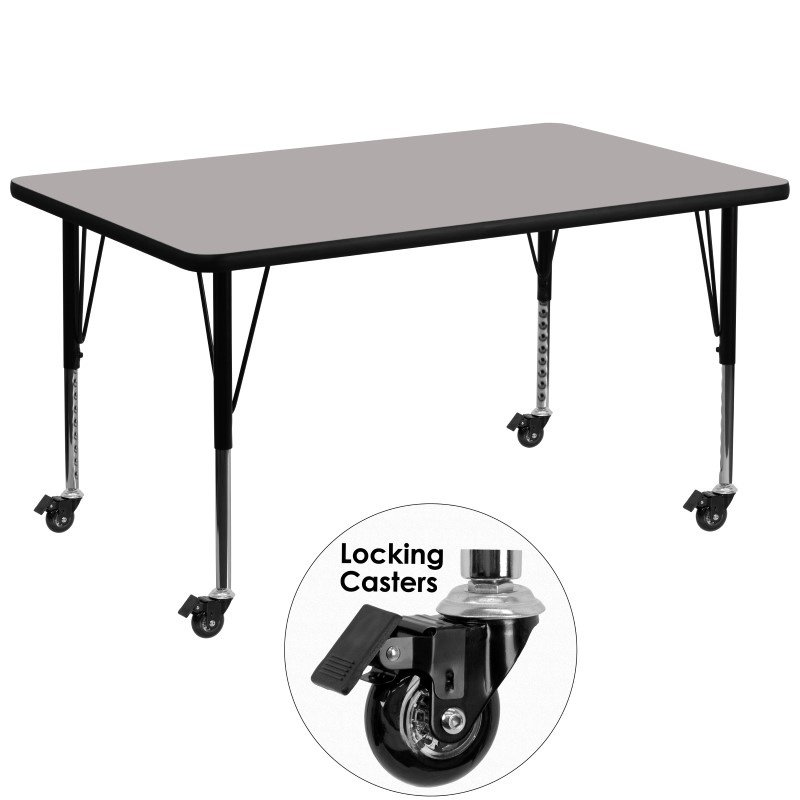 Flash Furniture Mobile 36''W x 72''L Rectangular Activity Table with 1.25'' Thick High Pressure Grey Laminate Top and Height Adjustable Preschool Legs