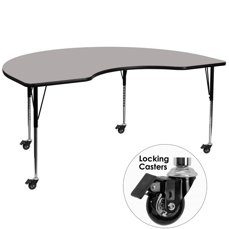 """Flash Furniture Mobile 48""""W x 72""""L Kidney Shaped Activity Table with 1.25"""" Thick High Pressure Grey Laminate Top and Standard Height Adjustable Legs"""