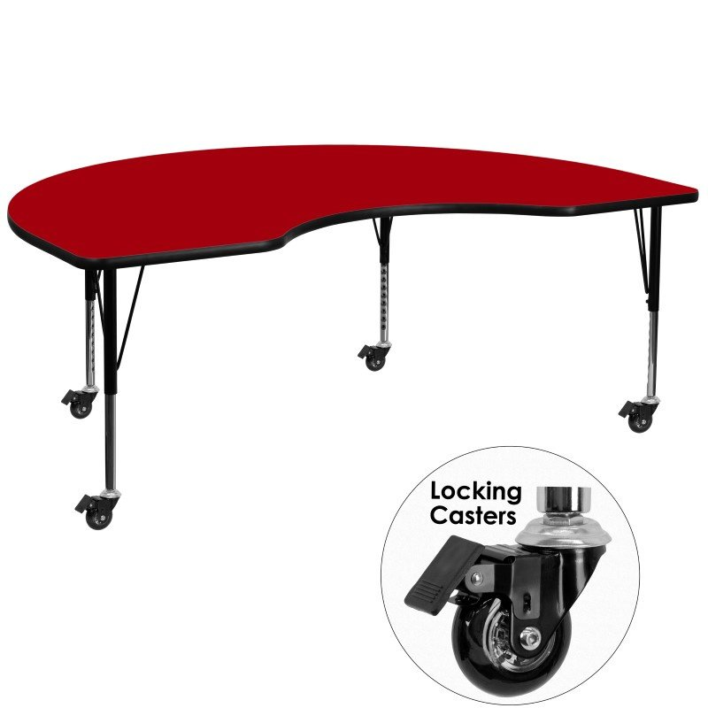 Flash Furniture Mobile 48''W x 72''L Kidney Shaped Activity Table with Red Thermal Fused Laminate Top and Height Adjustable Preschool Legs