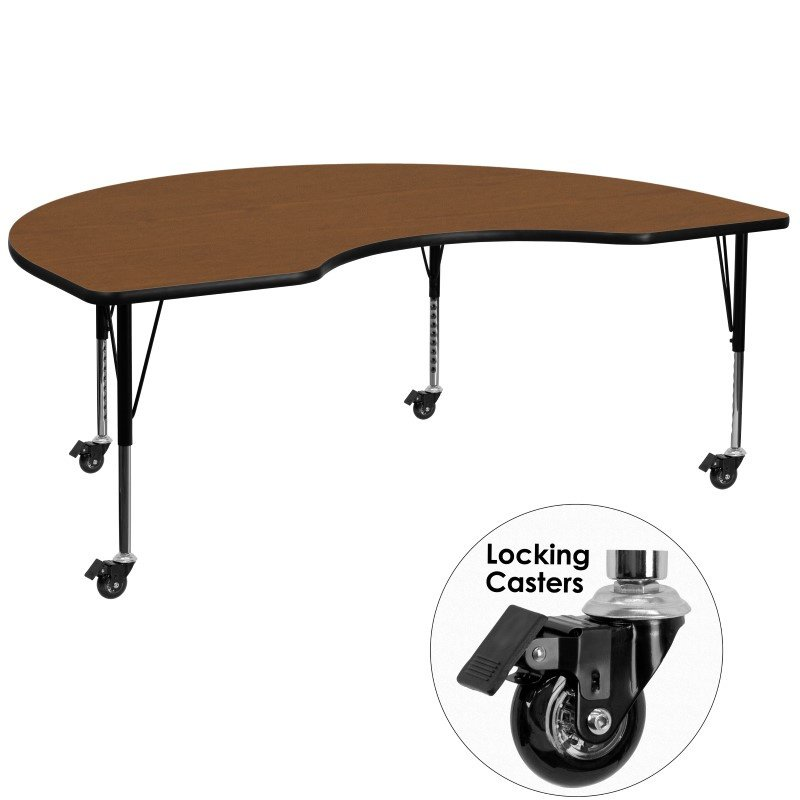 "Flash Furniture Mobile 48""W x 96""L Kidney Shaped Activity Table with 1.25"" Thick High Pressure Oak Laminate Top and Height Adjustable Preschool Legs"