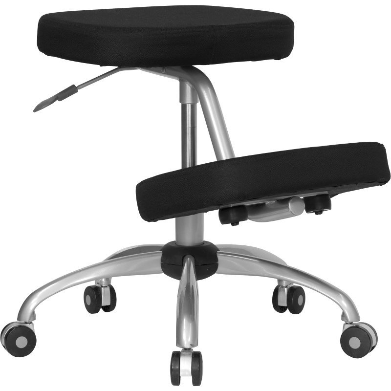 Flash Furniture Mobile Ergonomic Kneeling Chair in Black Fabric with Silver Powder Coated Frame