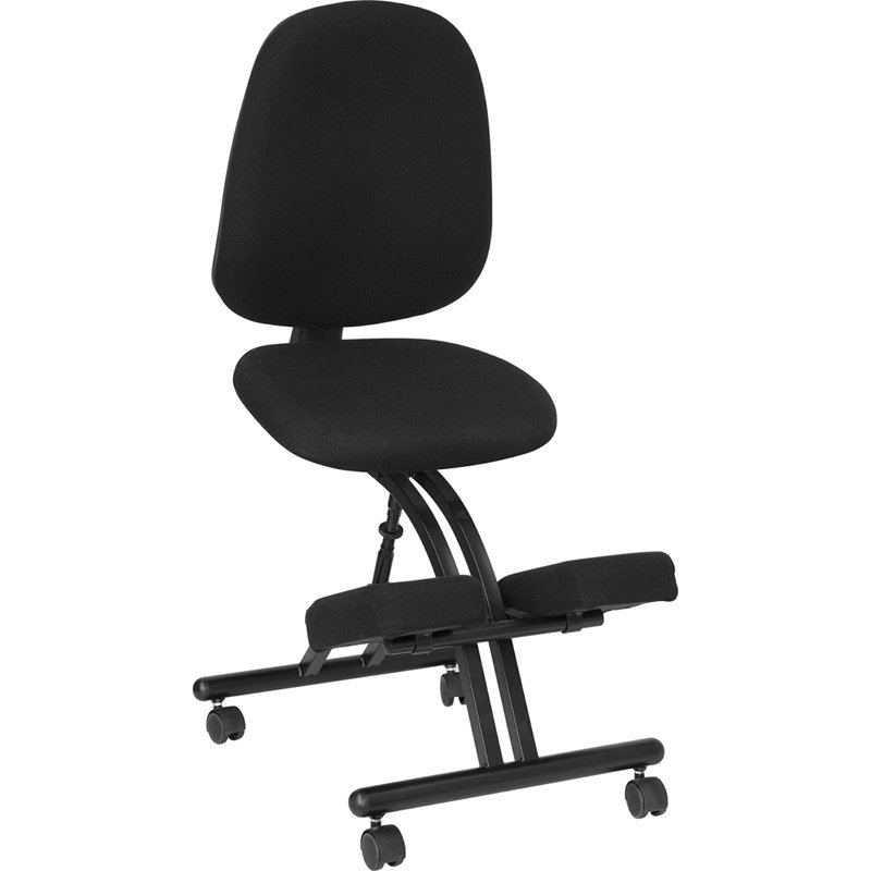 Flash Furniture Mobile Ergonomic Kneeling Posture Chair with Back in Black Fabric (WL-1428-GG)