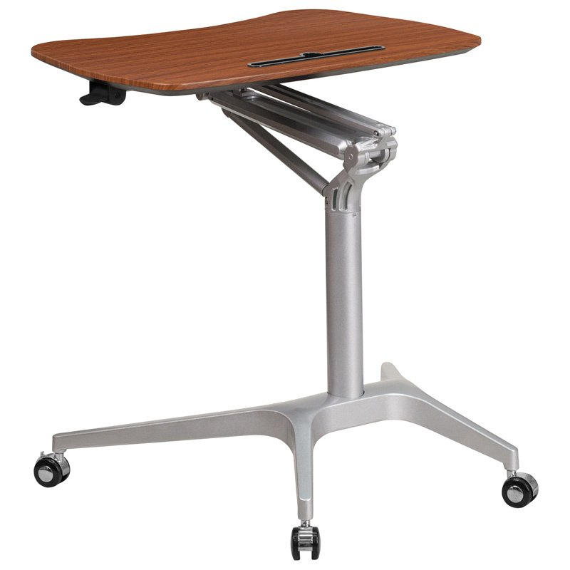 """Flash Furniture Mobile Sit-Down - Stand-Up Mahogany Computer Desk with 28.25""""W Top (Adjustable Range 29"""" - 41"""") (NAN-IP-10-GG)"""