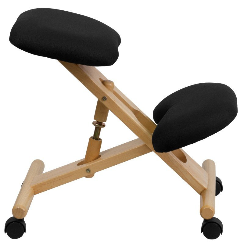 Flash Furniture Mobile Wooden Ergonomic Kneeling Chair in Black Fabric