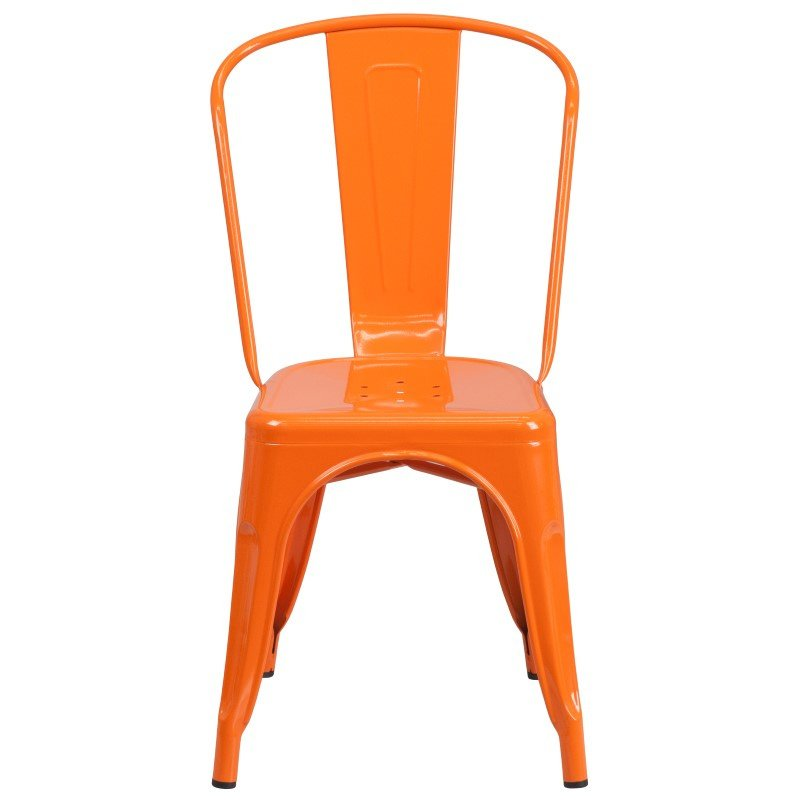 Flash Furniture Orange Metal Indoor-Outdoor Stackable Chair