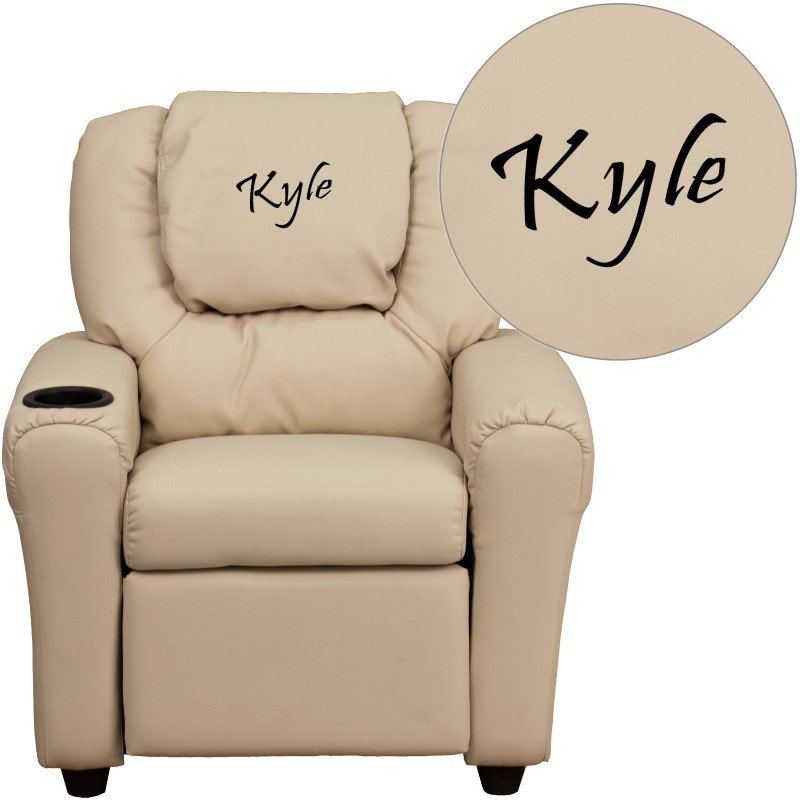 Flash Furniture Personalize Beige Vinyl Kids Recliner with Cup Holder and Headrest