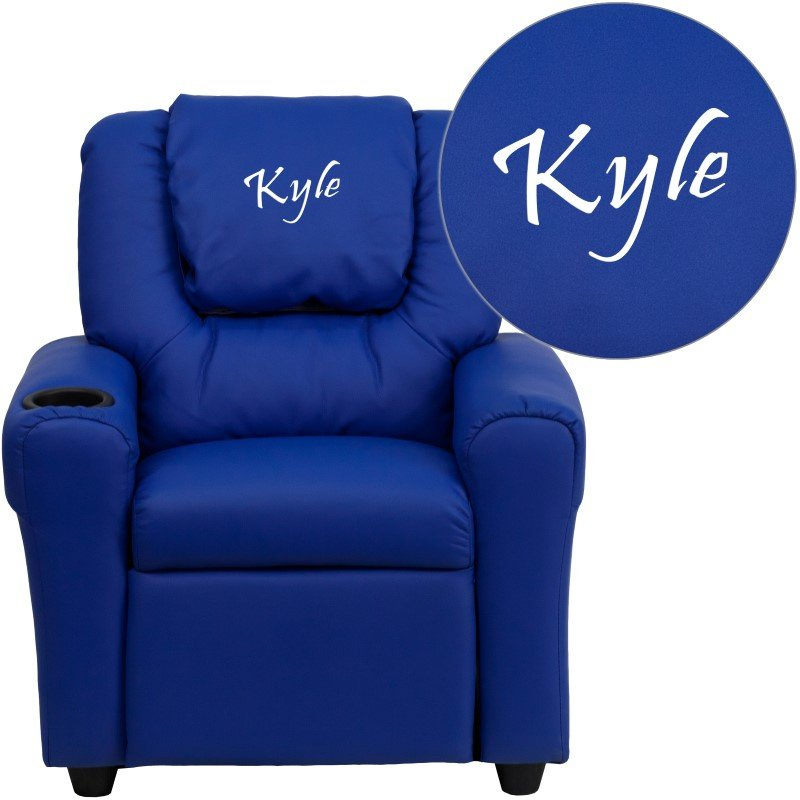 Flash Furniture Personalize Blue Vinyl Kids Recliner with Cup Holder and Headrest