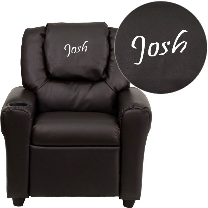 Flash Furniture Personalized Brown Leather Kids Recliner with Cup Holder and Headrest