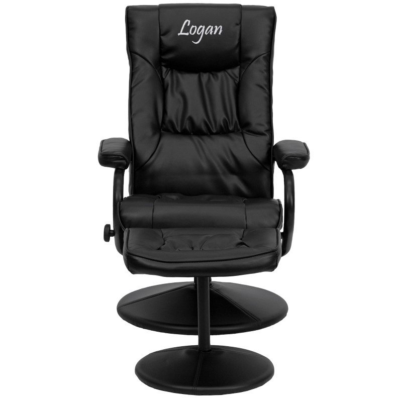 Flash Furniture Personalized Contemporary Black-Leather Recliner and Ottoman with Leather Wrapped Base